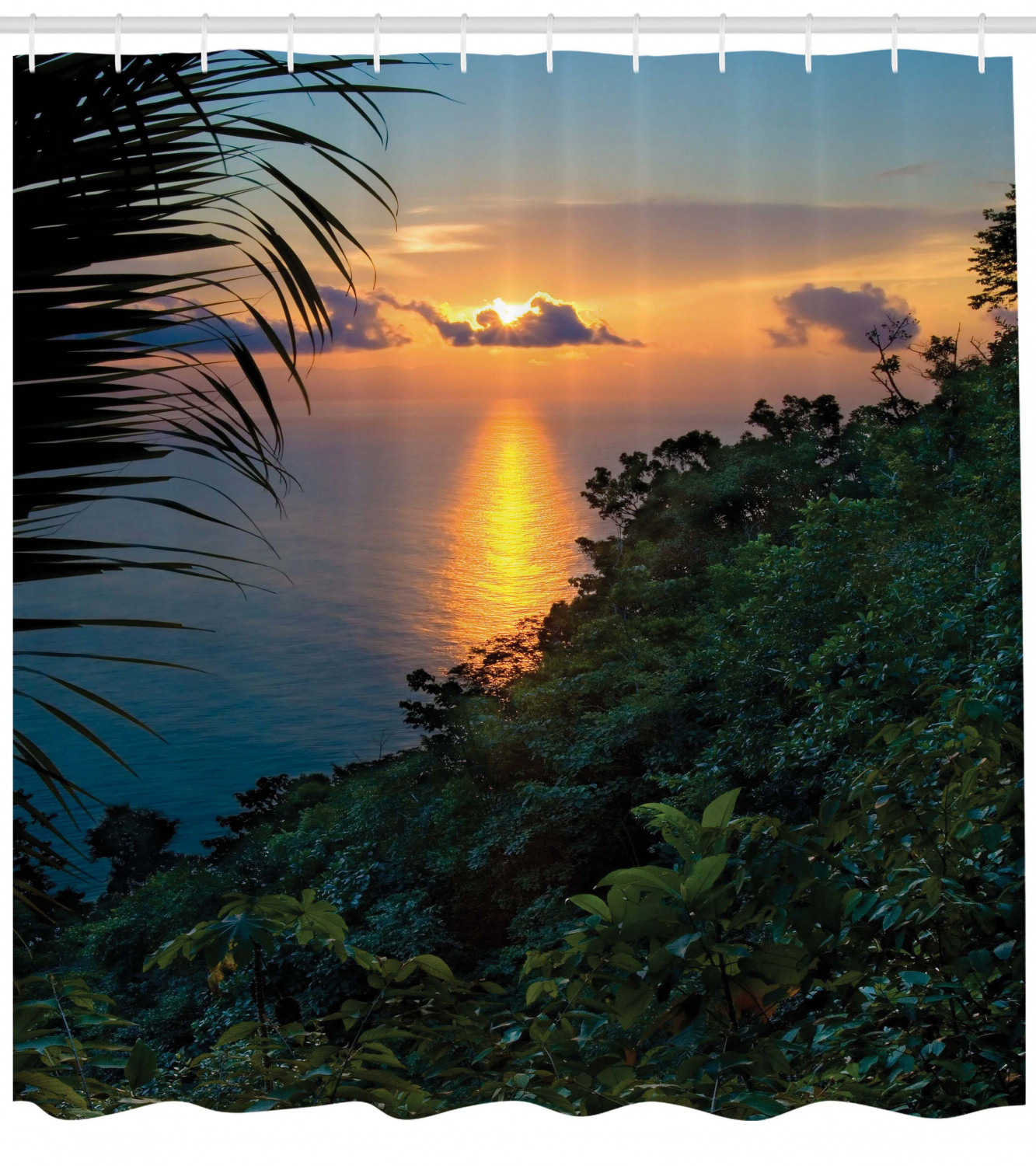 Tropical Beach Theme Sunrise Morning Exotic Nature Picture Shower Curtain Set