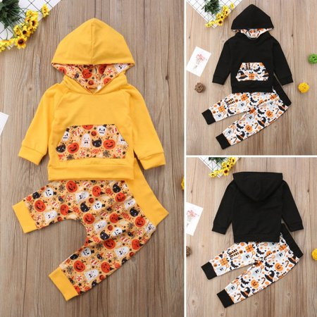Baby Halloween Costumes Infant Boy Girl Hoodies Tops+Pants Set Pumpkin Ghost Print Outfit - Boy And Girl Halloween Outfits