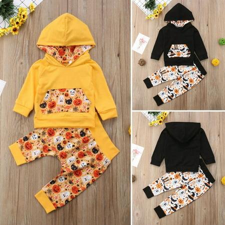 Baby Halloween Costumes Infant Boy Girl Hoodies Tops+Pants Set Pumpkin Ghost Print Outfit