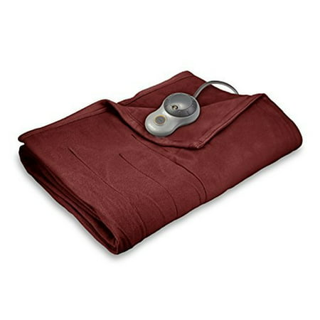 King Fleece Electric Bed Blanket Garnet - Sunbeam
