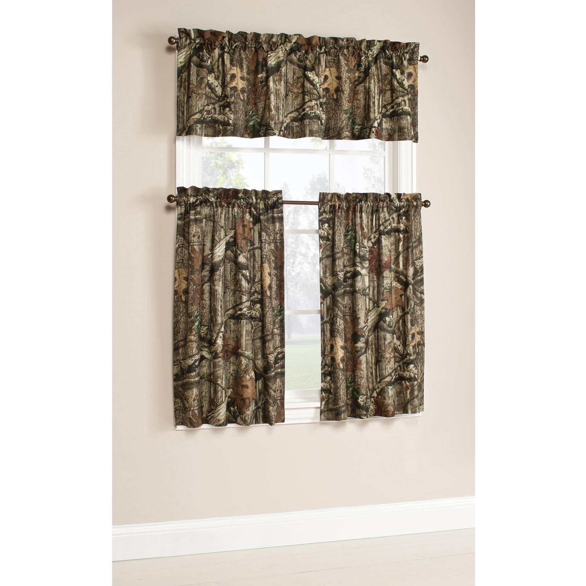 Mainstays Solid 3 Piece Kitchen Curtain Tier And Valance Set