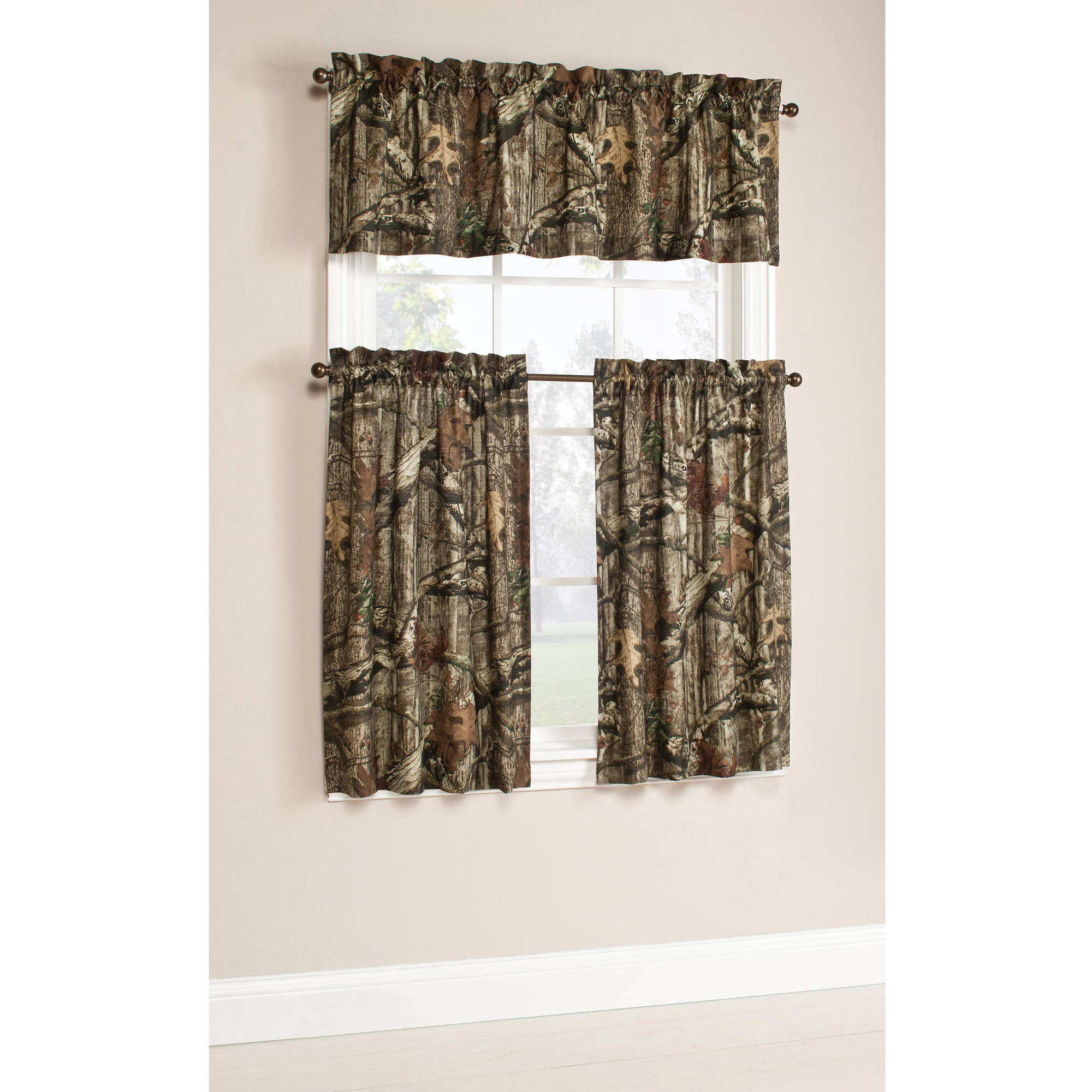 Mossy Oak Break-Up Infinity Camouflage Print Window Kitchen Curtains, Set of 2 or Valance