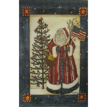 Santa Americana Christmas House Flag Primitive Holiday Yard Banner 28