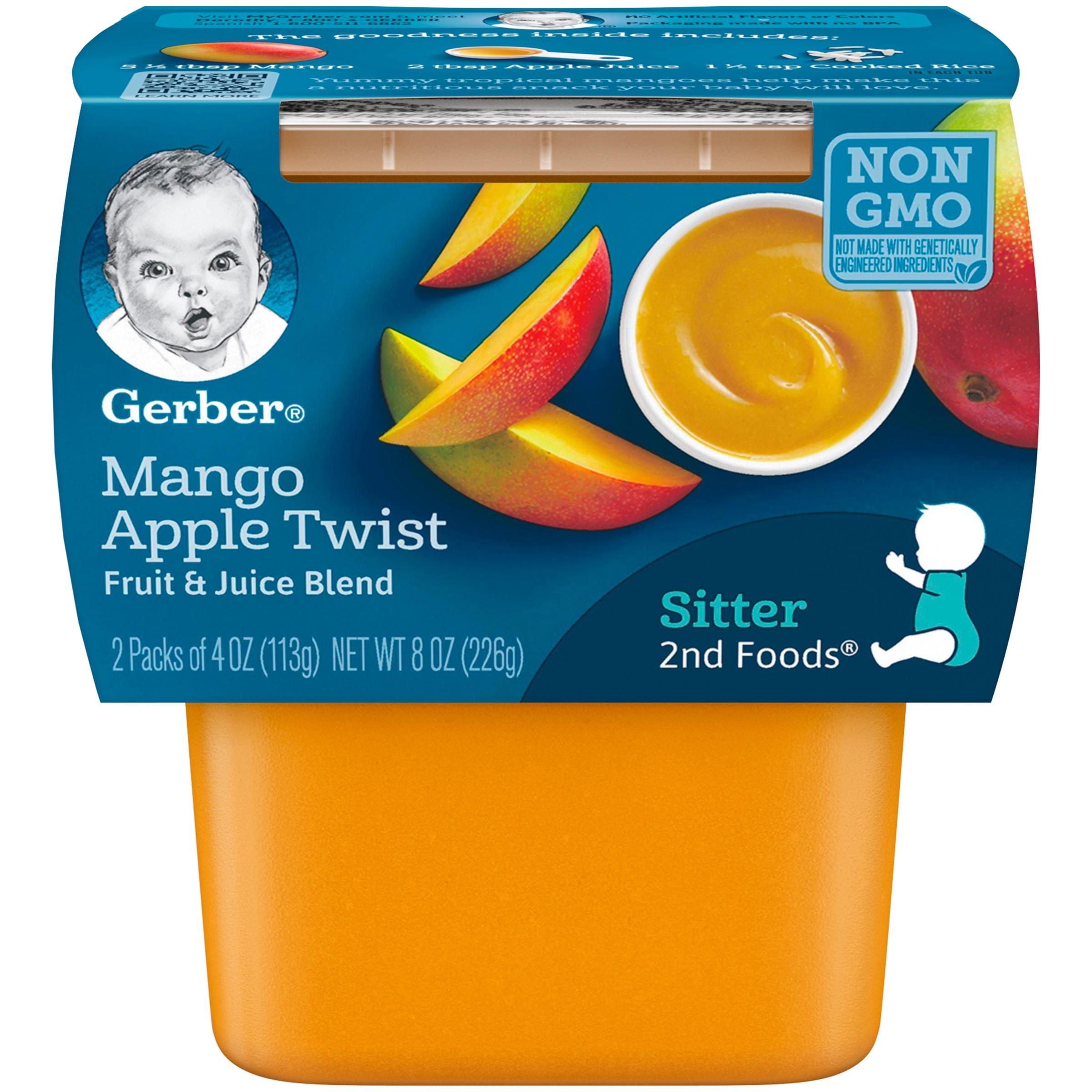 Gerber 2nd Foods Mango Apple Twist Baby Food, 4 oz. Tubs, 2 Count