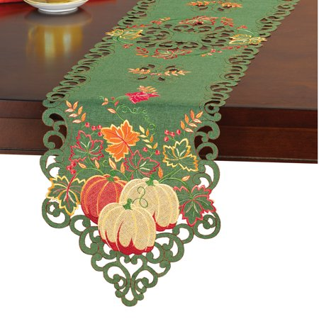 Green with Embroidered Pumpkins and Leaves Table Runner / Topper, Runner - Pumpkin With Leaves