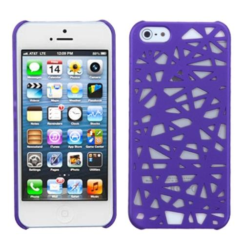 Insten Purple Bird's Nest Back Case (Rubberized) For iPhone SE 5S 5