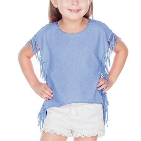 Kavio! Girls 3-6X Sheer Jersey Raw Edge Side Fringe Asymmetrical Cap Sleeve CropTop Azure 4
