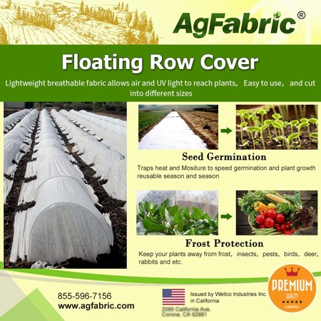 Agfabric Warm Worth Floating Row Cover & Plant Blanket, 0.55oz Fabric of 10x100ft for Frost Protection, Harsh Weather Resistance& Seed Germination