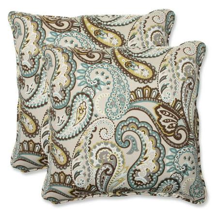 Pillow Perfect Outdoor/ Indoor Tamara Paisley Quartz 18.5-inch Throw Pillow (Set of 2)
