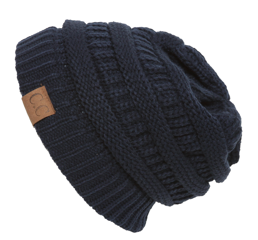 Navy Thick Knit Soft Stretch Beanie Cap