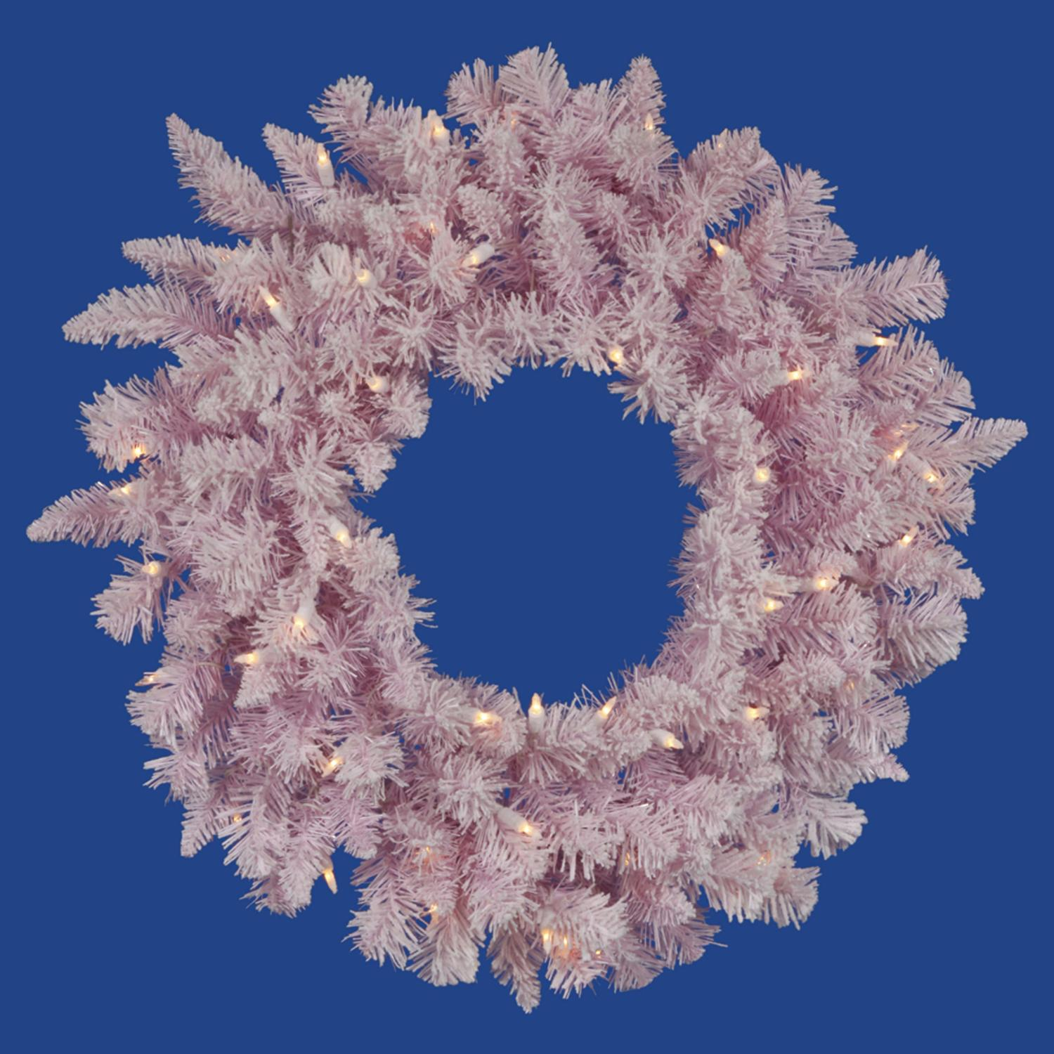"""48"""" Pre-Lit LED Flocked Cupcake Pink Artificial Christmas Wreath - Clear Lights"""