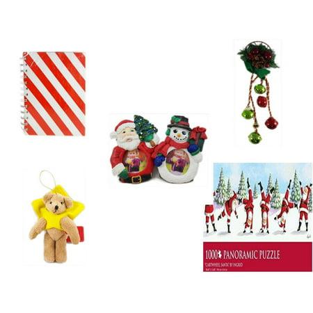Christmas Fun Gift Bundle [5 Piece] - Michaels Red & White Stripe Journal - Festive Holly Berry & Pinecone Door Knob Jingler - Santa & Snowman Photo Holders 1.5