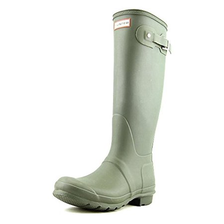 Hunter Women's Original Tall Dark Olive Knee-High Rubber Rain Boot - (Best Boots For Standing On Concrete All Day)