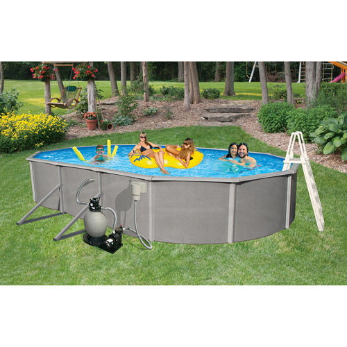 "Blue Wave Oval 24' x 12' x 48"" Deep Belize 6"" Top Rail Metal-Walled Swimming Pool"
