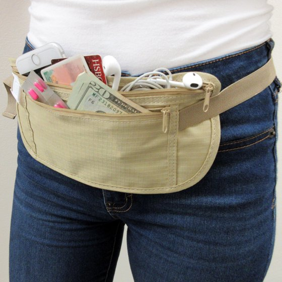 d68f0ebe496 2 Travel Pouch Hidden Passport ID Holder Compact Security Money Waist Belt  Bag !