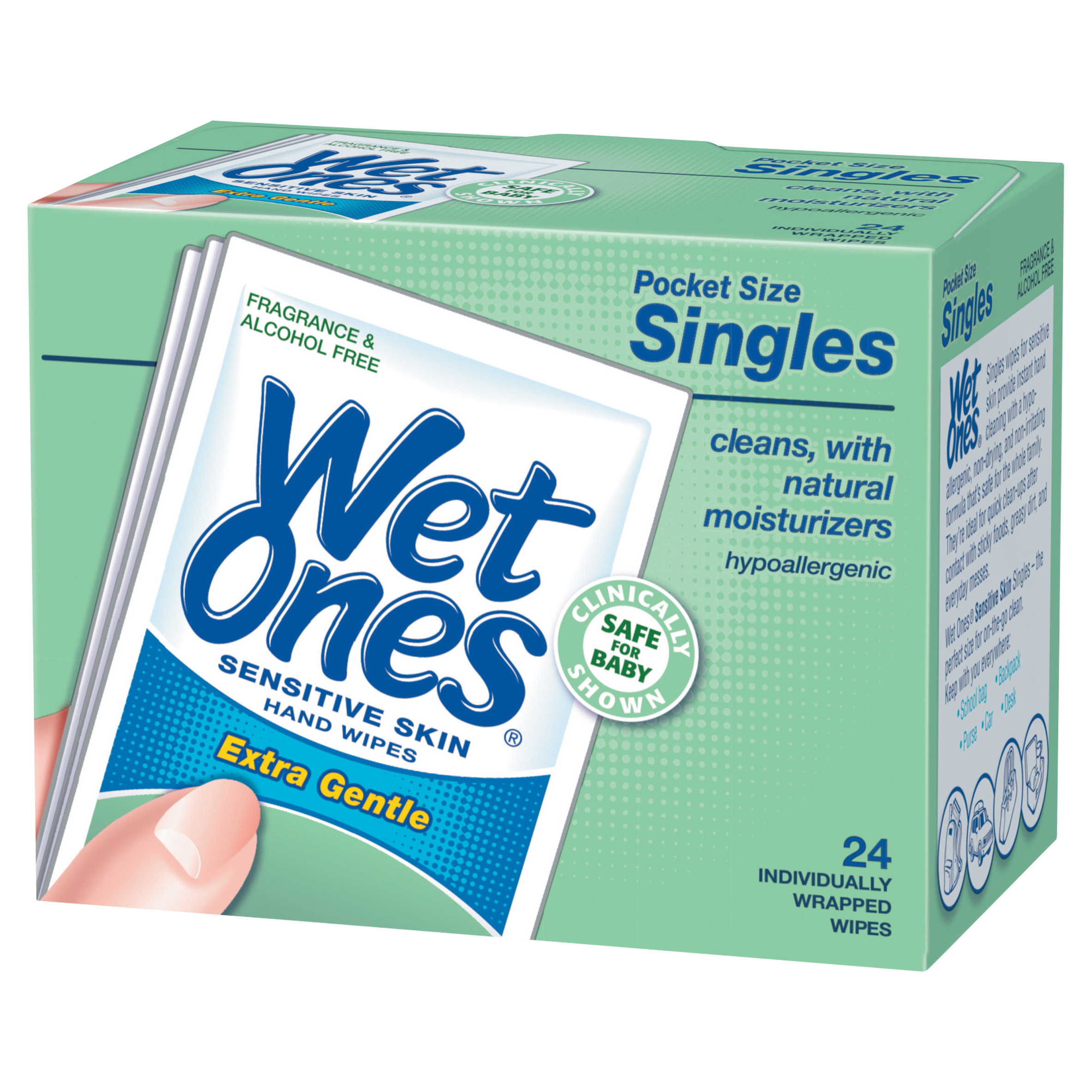 Wet Ones Sensitive Skin Hand Wipes Individually Wrapped Singles - 24 Count