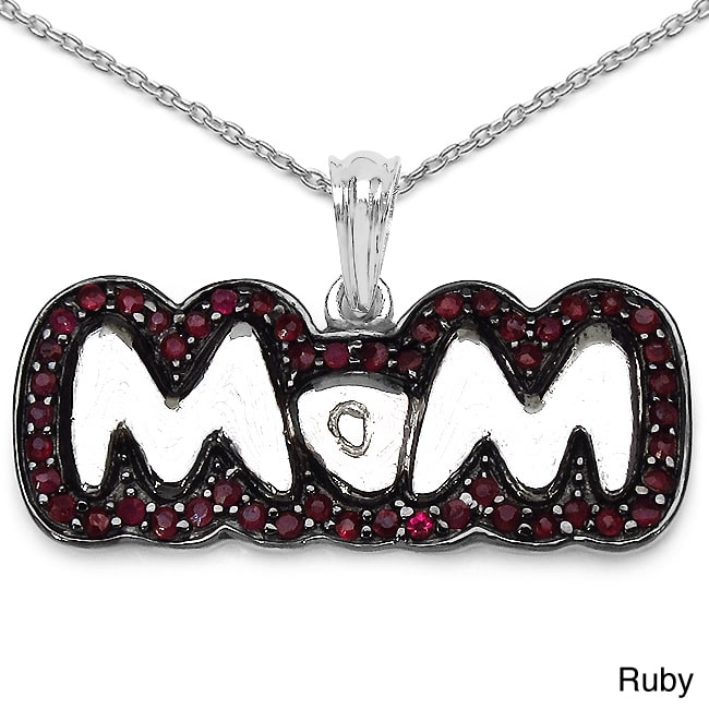 JEWELRYAUCTIONSTV Sterling Silver Ruby or Sapphire 'Mom' Necklace