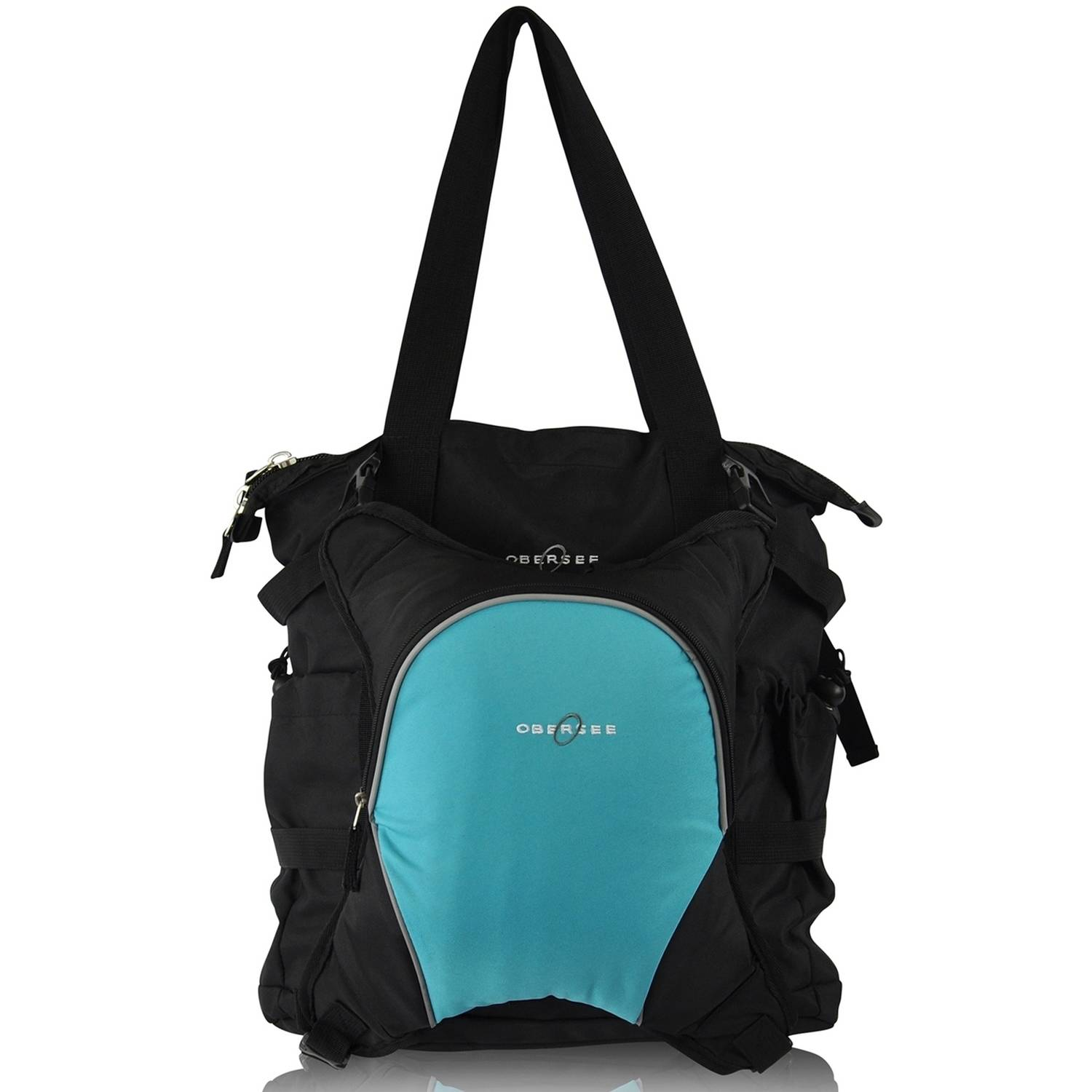 Obersee Innsbruck Diaper Bag Tote with Cooler, Black/Turquoise