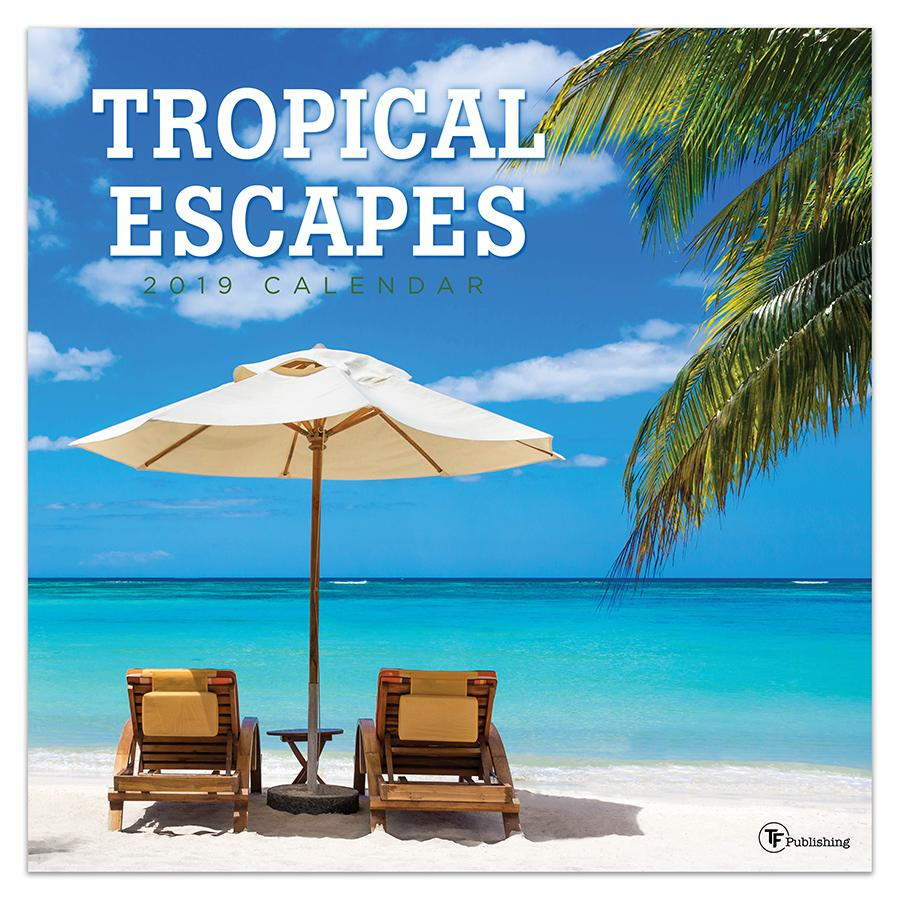 """2019 Tropical Escapes 12"""" x 12"""" January 2019-December 2019 Wall Calendar by TF Publishing"""
