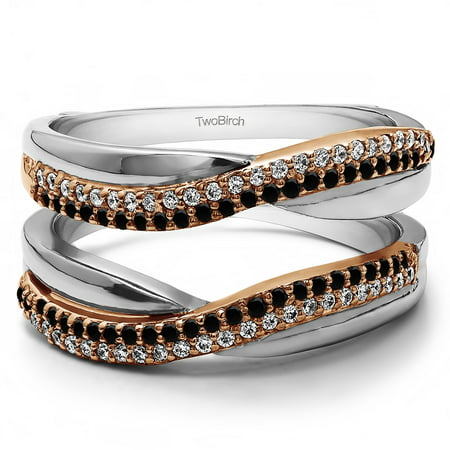 Double Row Pave Set Ring Guard Enhancer in Sterling Silver (0.47ctw)