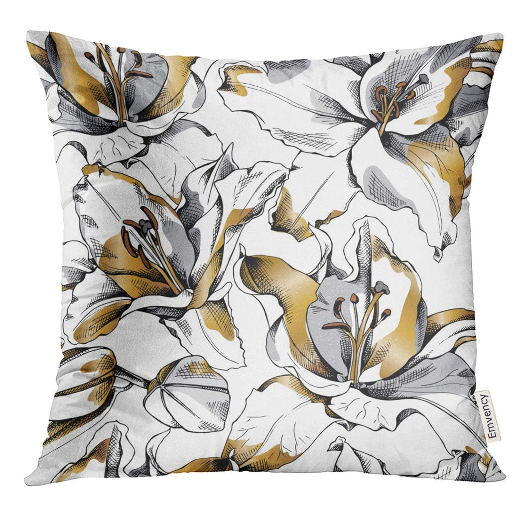 USART Floral with Gold Lily Flowers Outline Pillow Case 18x18 Inches Pillowcase