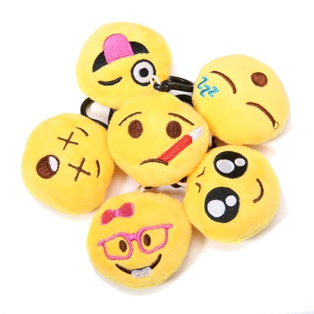 34-Pack Emoji Keychain, Emoji Toys Party Favors Mini and Cute Plush Pillows, Emoji Party Supplies Key Chain Toy Bag Accessory for Kids Christmas Birthday Classroom