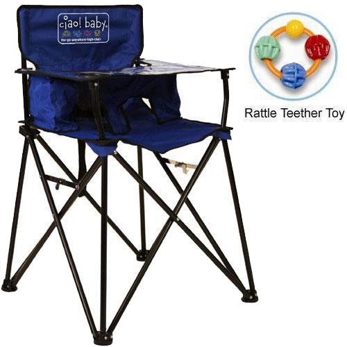 ciao baby Portable High Chair with Rattle Teether Toy Blue by ciao baby