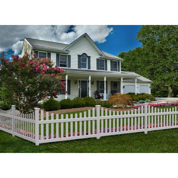 All American Vinyl Picket Fence With No Dig Steel Pipe Anchor Kit