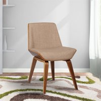 Armen Living Agi Mid-Century Dining Chair in Walnut Wood and Fabric