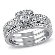 1/2 Carat T.W. Diamond Sterling Silver Three-Row Bridal Set