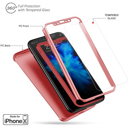 iPhone X Case (Blue) Transparent Back + Protective Covering on all sides - image 1 de 3