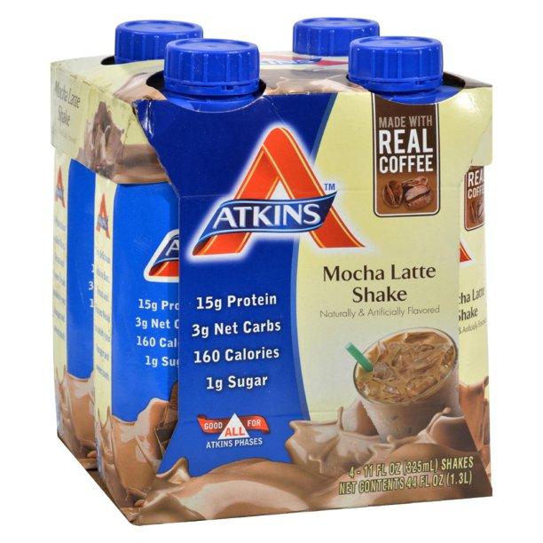 Atkins Mocha Latte Shake, 11 fl oz, 4-pack (Ready To Drink)