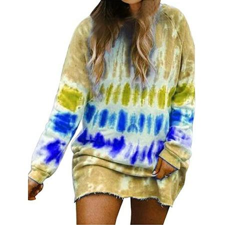Boho Gradient Printed T Shirt Dresses for Women Casual Loose Long Sleeve Short Mini Dress Ladies Rainbow Tie Dye Printed Sweatshirt Dress Fashion Baggy Straight Dress