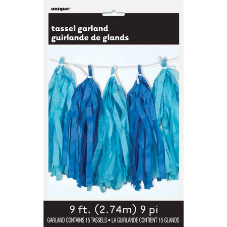 Tissue Paper Tassel Garland, 9 ft, Royal Blue and Light Blue, 1ct