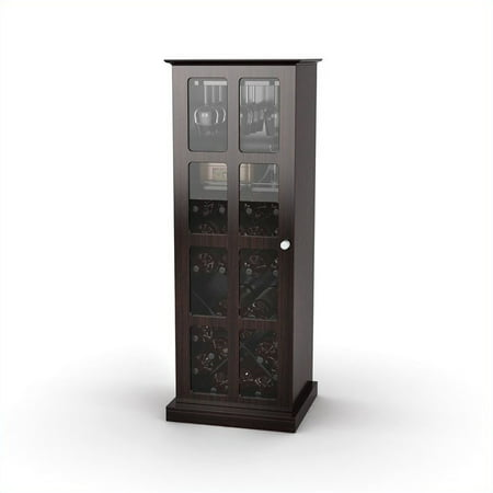 - Atlantic Windowpane 24-Bottle Wine Cabinet, Espresso