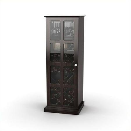Atlantic Windowpane 24-Bottle Wine Cabinet, Espresso