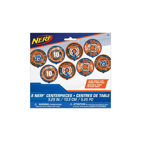 Unique Nerf Party Centerpiece Decorations, 5.25 in, 8ct (Beach Theme Centerpiece Ideas)