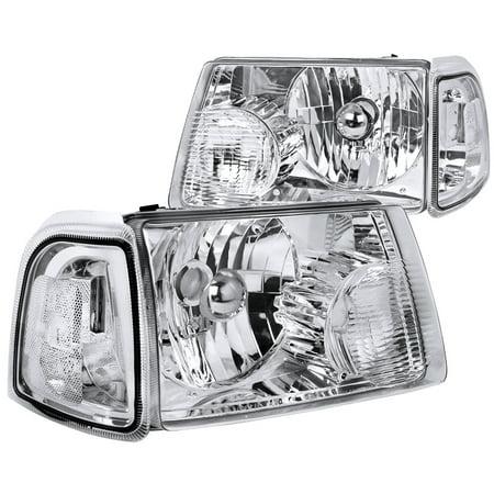 Spec-D Tuning 2001-2011 Ford Ranger Chrome Crystal Headlights + Corner Lights Turn Signal Lights 01 02 03 04 05 06 07 08 09 10 11 (Left + (Ford Ranger Euro Headlights)
