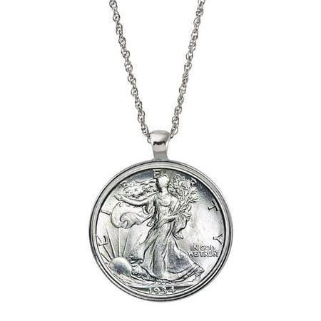 UPM Global 15476 Silver Walking Liberty Half Dollar Coin Silvertone Pendant 1917 Walking Liberty