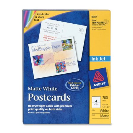 Avery Postcards For Inkjet Printers  Matte  5 5 X 4 25 Inches  White  Box Of 200  08387