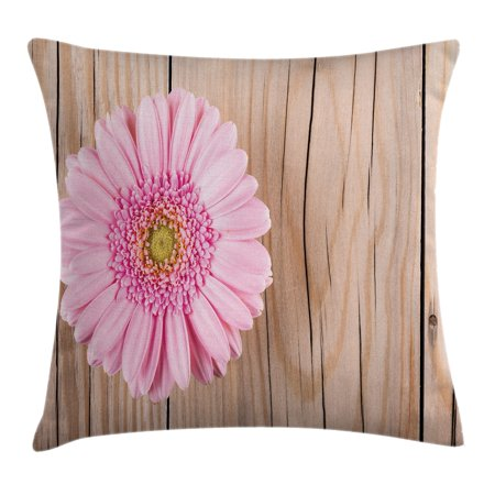 Rustic Home Decor Throw Pillow Cushion Cover, One Large Gerbera Daisy on Oak Back Dramatic South American Exotic Photo, Decorative Square Accent Pillow Case, 18 X 18 Inches, Pink Brown, by Ambesonne