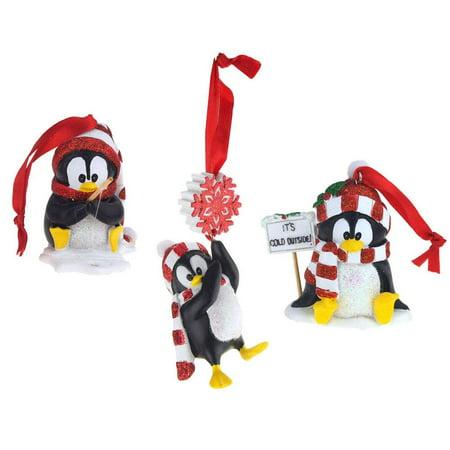 Winter Penguin Ceramic Christmas Ornaments, Black/White, 3-1/2-Inch, 3-Piece (Firefly Winter)