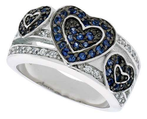 "Sterling Silver & Rhodium Plated Hearts Band, w/ Tiny  Sapphire & White CZ's, 1/2"" (12 mm) wide"