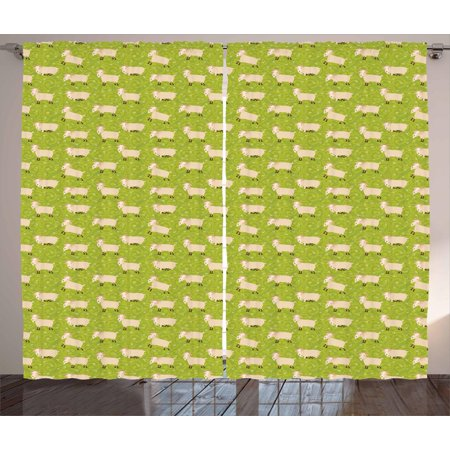 Goat Curtains 2 Panels Set, Famland Characters Sleeping and Running on Ornamental Background, Window Drapes for Living Room Bedroom, 108W X 63L Inches, Apple Green Beige and Brown, by