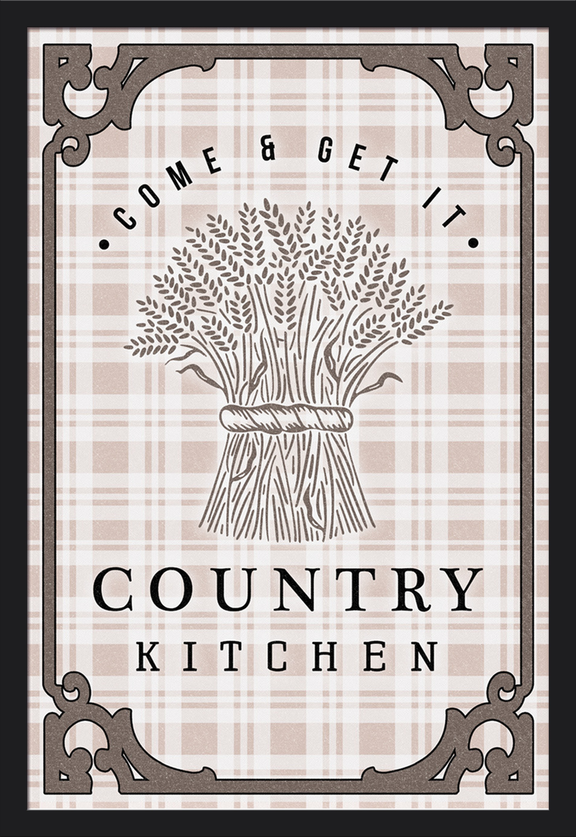 Country Kitchen Chicken on White 16x24 Giclee Art Print, Gallery Framed, Black Wood