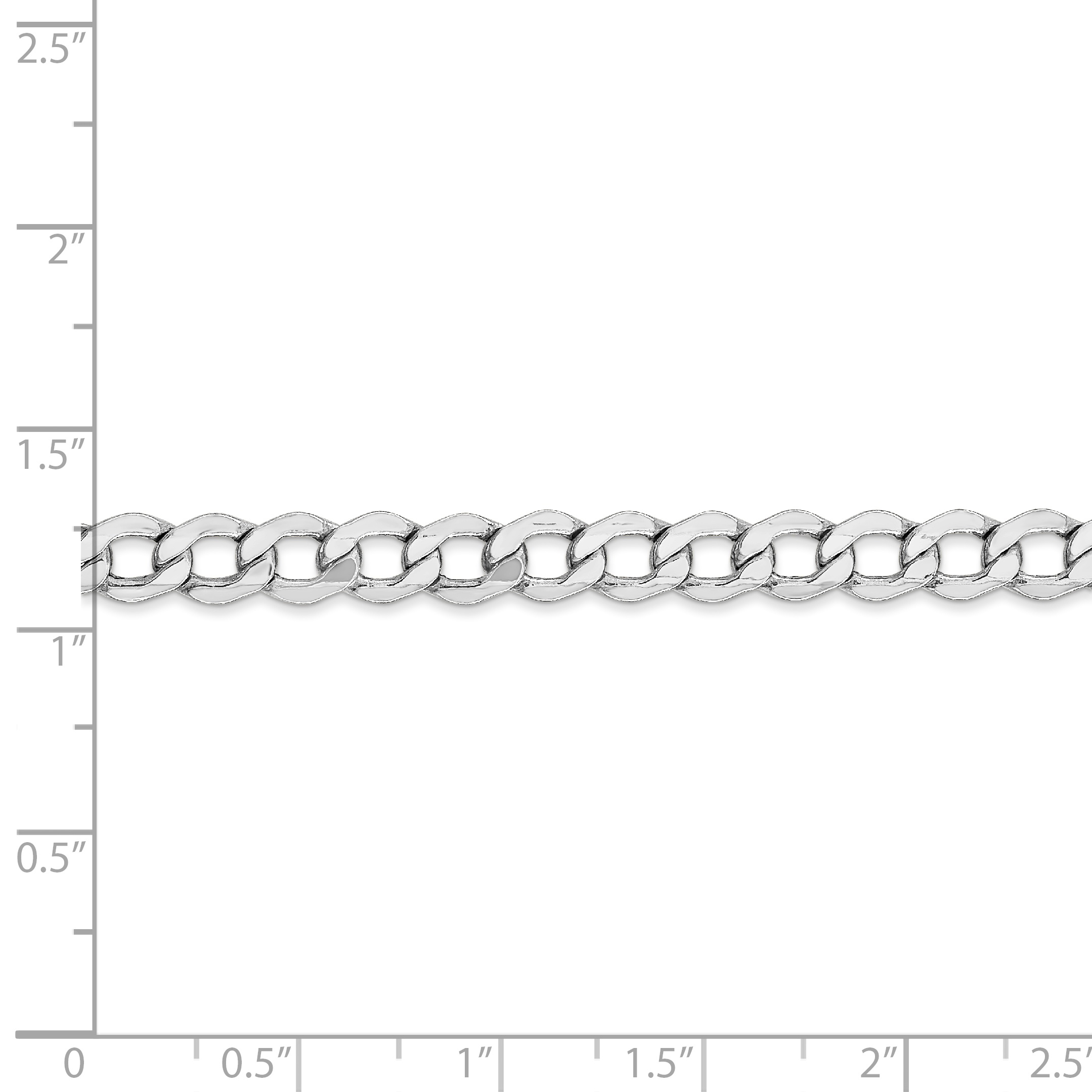 14K White Gold 5.25mm Semi-Solid Curb Link Chain Bracelet 8 Inch - image 1 de 2