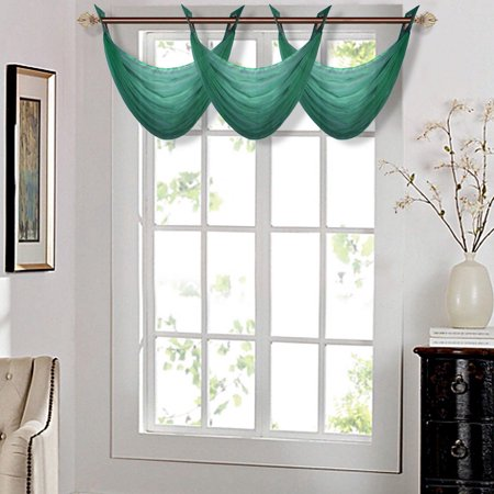 """K36 HUNTER GREEN 1-PC Solid Voile Sheer WATERFALL Valance Window Treatment With 2 Grommets On Top 55""""in Wide X 24""""in Length"""