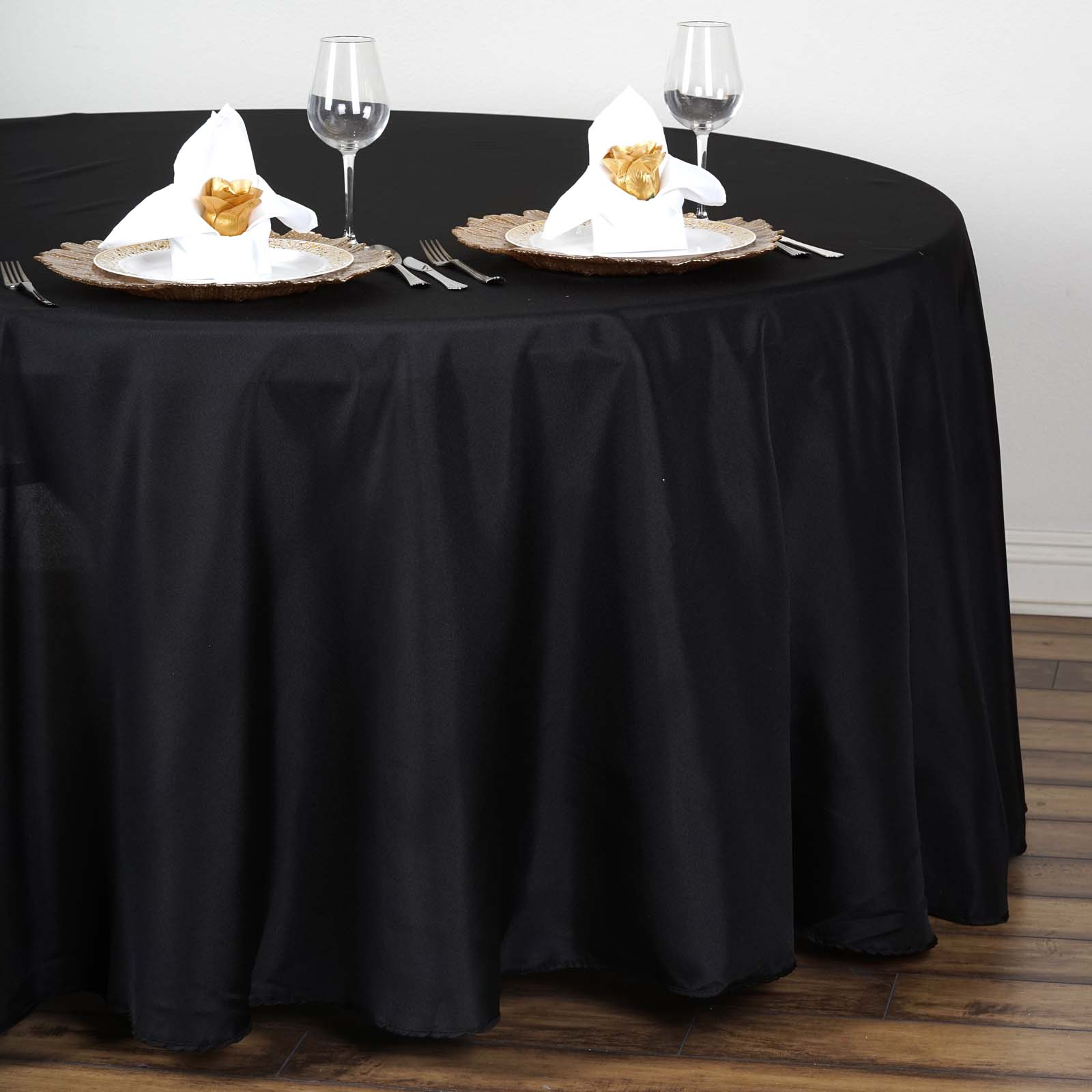 "BalsaCircle 108"" Round Polyester Tablecloth Wedding Table Linens"