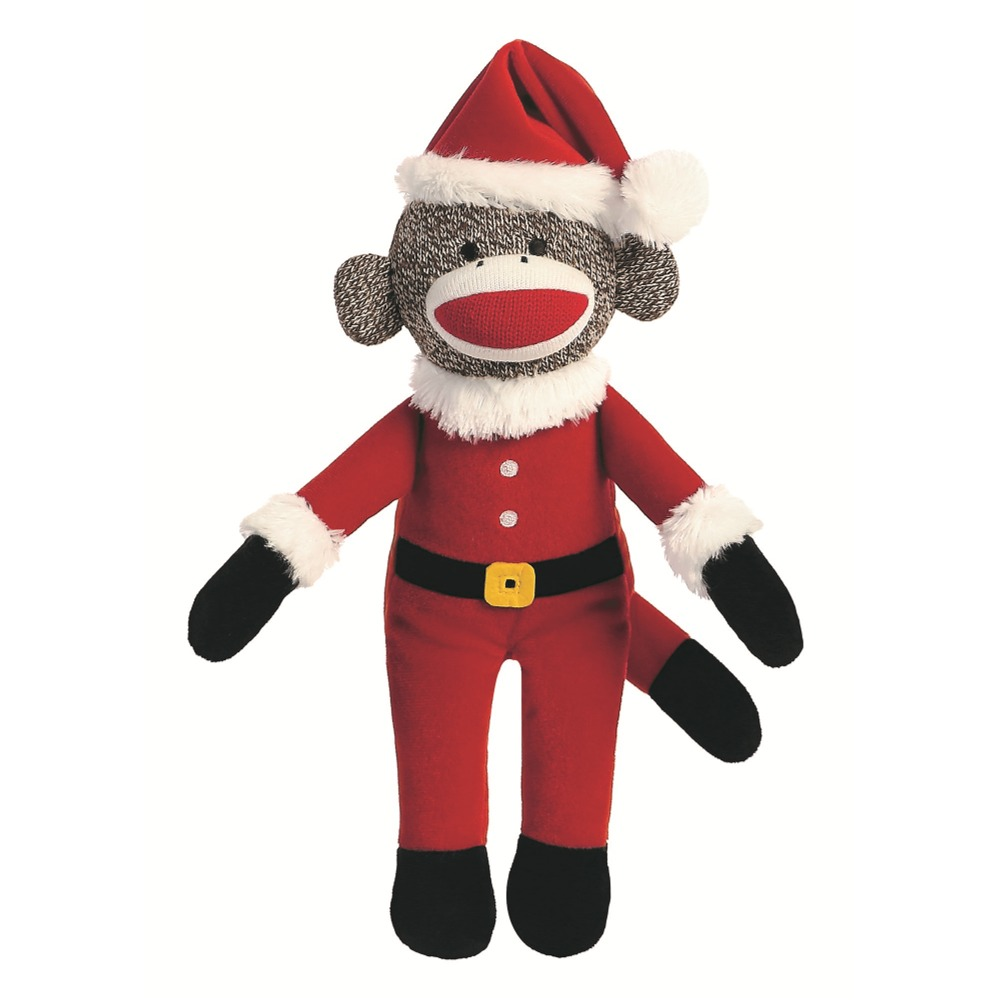 Santa Holiday Sock Monkey 12-Inch Plush