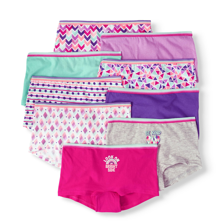 ef7e5a148eeb Wonder Nation Girls 100% Cotton Boyshort Panty, 9 pack – Walmart ...